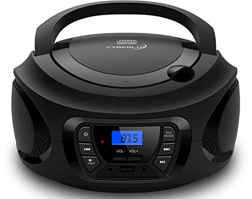 Tragbarer CD-Player | | CD/CD-R | USB | FM Radio | AUX-In | Kopfhöreranschluss | Kinder Radio | Boombox | CD-Radio | Stereoanlage | Kompaktanlage (Dark Knight Black)