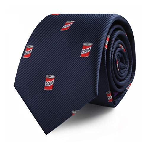 Soda Can Soft Drink Ties for Men Soda Pop | Thin Ties Coke Skinny Neckties | Present for Work Colleague | Bday Gift for Guys (Soda)