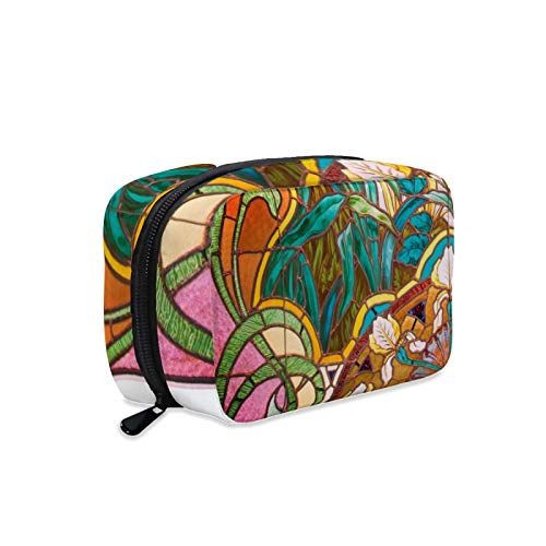 Bolsa de cosméticos, bolsa de maquillaje, bolsa de lavado portátil, bolsa de maquillaje para mujer, perfecta para viajes/Daily-Art Nouveau vidrieras florales