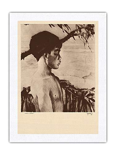 Pacifica Island Art Kaipo, Hawái - Chico Hawaiano Nativo - De Grabados y Dibujos de Hawaianas - Grabado a Punta Seca de John Melville Kelly c.1935 - Impresión de Arte Seda Pura Tela 61x81cm
