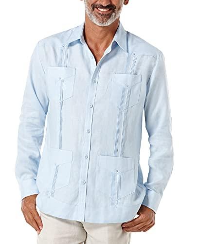 Cubavera Men's Long Sleeve 100% Linen Guayabera, Cashmere Blue, X-Large