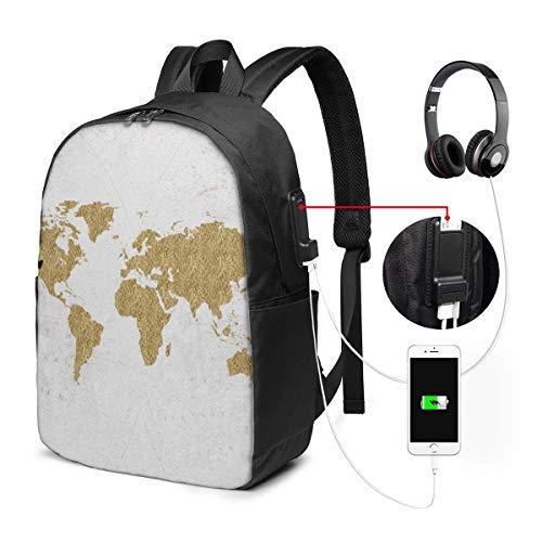 Reise-Laptop-Multifunktions-Reisetaschen, Canvas-Schulter-Daypack-Rucksack Mit USB-Ladeanschluss Und Kopfhörerloch Für Teenager Mädchen Jungen -Folien-Weltkarte-Gewohnheit beweglich