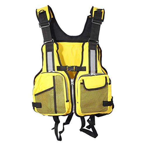 Chaleco salvavidas para adultos, Chalecos salvavidas de flotabilidad, Canoa ajustable Kayak Bote Vela Chaqueta de ayuda a la flotabilidad para hombres / mujeres Con múltiples bolsillos amarillo