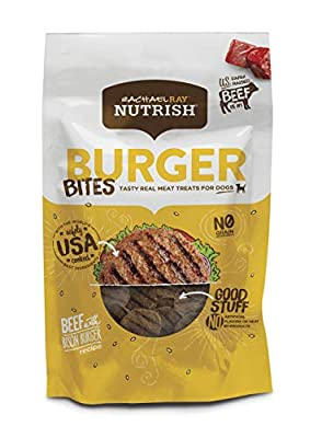 Rachael Ray Nutrish Burger Bites Real Meat Dog Treats, Beef Burger with Bison Recipe, 3 Ounces (Pack of 8), Grain Free