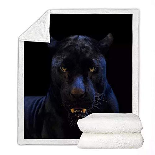 Schwarzer Panther Sherpa Fleece Decke Wild Animals Throw Blanket Boys Teens Coole weiche Tagesdecke Flauschige Bettwäsche Geburtstagsgeschenk 130 * 150cm