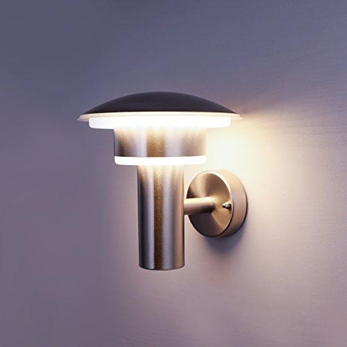 NBHANYUAN Lighting® Aussenleuchte /Außenlampe LED Wand Lampe Außen für Balkon, Garten Silber Edelstahl 3000K Warmweiß Licht 220-240V 1000LM 9W IP44 (ohne PIR Sensor)