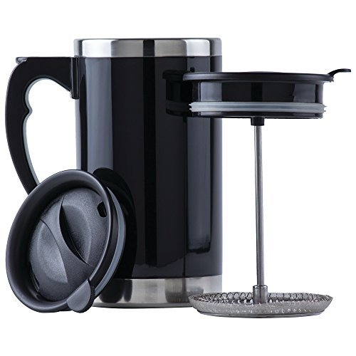 Wyndham House 21 Ounce Stainless Steel Lined, Double-Walled French Press Coffee or Tea Travel Mug, Black