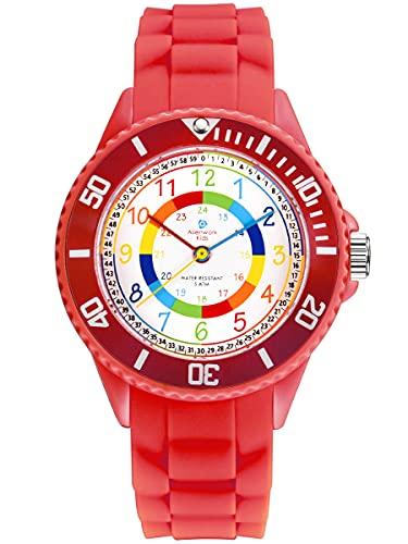 Alienwork Kids Reloj de Aprendizaje Infantil Niña Rojo Pulsera de Silicona niños Impermeable 5 ATM Tiempo de Aprender