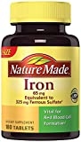Nature Made Iron 65 mg (from Ferrous Sulfate), 180 Tablets (2 Bottles)