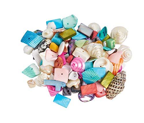 Perles coquillages, multicolores, 100 g