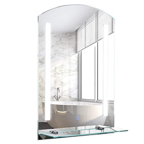 kleankin Espejo de Baño con Luz LED 16W Interruptor Táctil y Estante Inferior Cable de 1m Marco de Aluminio 50x15,1x70 cm Plata