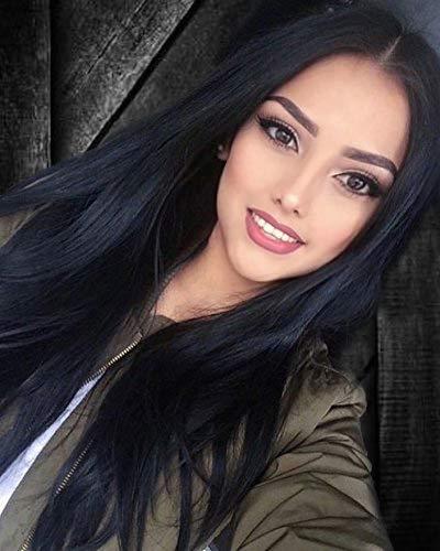 Peluca de pelo largo y recto para mujer, de fibra sintética de alta calidad, color negro natural, nueva serie de belleza para mujeres a la moda.