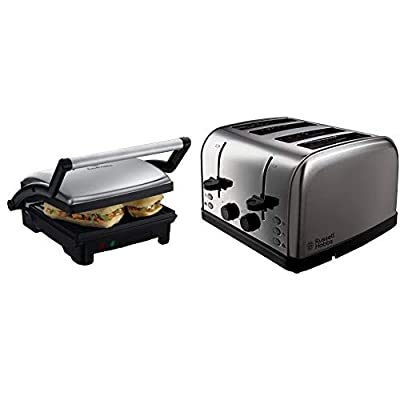 Russell Hobbs 3-in-1 Panini Press, Grill and Griddle 17888, Stainless Steel & Hobbs 18790 4 Slice Toaster, Stainless Steel, 1500 W