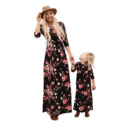 DAY8 Vestiti Mamma e Figlia Uguali Abbigliamento Abiti Vestiti Uguali Mamma Bambina Vestito Mamma Figlia Uguali Abiti Famiglia Coordinati Mamma Moda Bambina Floreale Mezza Manica (Nero, Large)