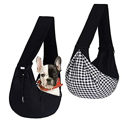 FDJASGY Small Pet Sling Carrier-Hands Free Reversible Pet Papoose Bag Tote Bag with a Pocket Safety Belt Dog Cat for Outdoor Travel Black 4