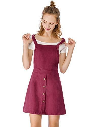 Allegra K Vestido De Falda A- Línea con Tirantes Decoración De Botones De Pana para Mujeres