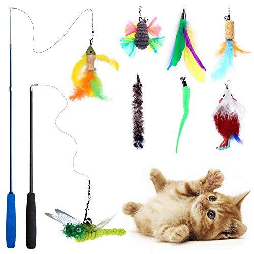 [10 en 1 ] Teeye 10pcs Juguete Pluma de Gato,Varita retráctil para Gato,Juguete de Cazador de Gatos Interactivo para ejercitar Gatos, Incluye 2 varitas Mágicas y 8 Plumas de Recambio (10 en 1)