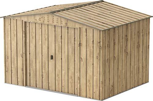 Duramax Top 10 x 8 Storage, Weatherproof Metal Garden Shed, Woodgrain & Brown Trimmings Capannone da Giardino in Metallo, con venature del Legno
