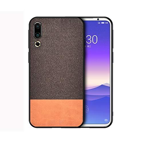 Liluyao Fundas para teléfono móvil Funda Protectora de Tela a Prueba de Golpes PU Tela for Meizu 16S Estuches para teléfonos celulares (Color : Brown)