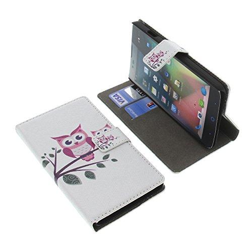 foto-kontor Tasche für ZTE Blade L3 Plus Book Style Eulen weiß Schutz Hülle Buch