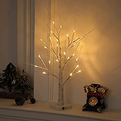 """24"""" 2FT 24LT Fairy Lighted Birch Tree Battery Powered Timer Warm White LED Artificial Branch Tree for Home Party Festival Wedding Home Decor"""