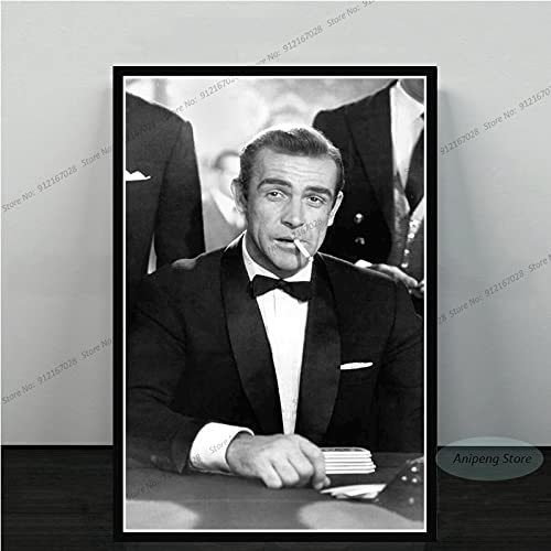 meishaonv Sean Connery Attore di Film James Bond 007 with Guns Poster Art Canvas Painting Picture for Living Room Home Decor A1549 50 × 70 CM Senza Cornice