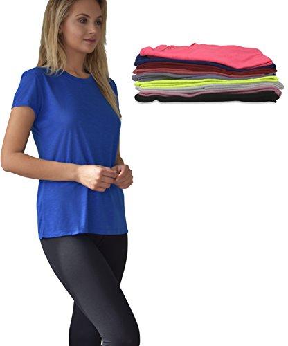 Women's 10 Pack Everyday Flowy Burnout Slub Active Workout Crew T Shirt (10 Pack- Solids Pack A, Medium)