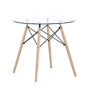 Piccolo tavolo da pranzo moderno Nordic Design retrò per 3 - 4 persone Tavolo rotondo in vetro trasparente, finitura temperata, bordi arrotondati lisci, tavolo in vetro temperato trasparente con un gusto elegante, facile da pulire e resistente Il tav...