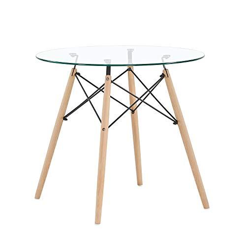H.J WeDoo Rund Couchtisch Glastisch Buchenholz Esstisch Küchentisch Wohnzimmertisch, 80 * 80 * 75 cm, 4 Beine Natur, Transparent
