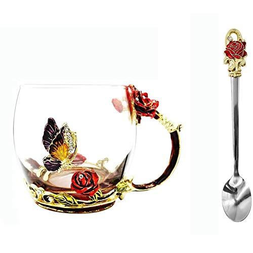 MLDFS Vaso de cristal: taza de cristal con cuchara esmaltada de rosa roja, taza de té, taza de café, idea de regalo, día de la madre, cumpleaños, día de la madre (rojo bajo)