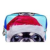 Bolsa de cosméticos Bolsa de Maquillaje Bolsa de cosméticos de Viaje, Bolso de Mano, Bolso de baño,Perro Chihuahua Inteligente en un Disfraz de Navidad