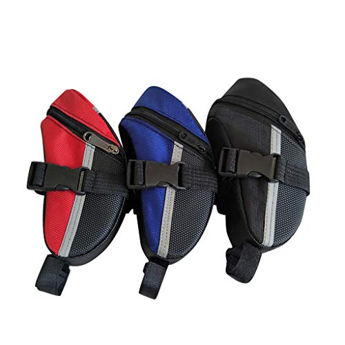 Bike Saddle Bag, Lulupi Waterproof Bicycle Wedge Pack Strap-on Pouch with Water Resistant Zipper & Rear Light Loop PU Coating for Mini Cycling Pumps Repair Tools MTB Folding Cycles Pocket Pack