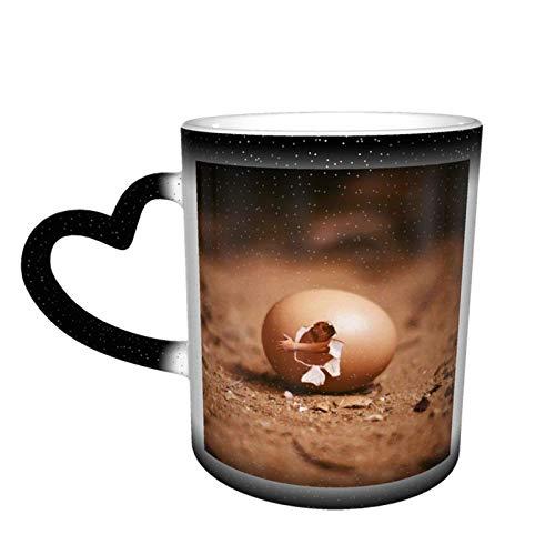 Taza de cerámica sensible al calor que cambia de color, tazas de café con forma de gallo, taza que cambia de color, sorpresa de cumpleaños para niños y niñas