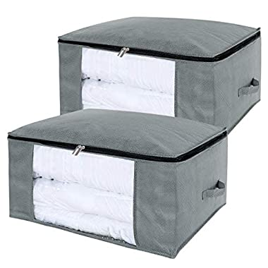 Lifewit 100L Large Capacity Clothing Storage Bag with Clear Window for Comforters, Blankets, Bedding, Duvets, Clothes, Quilts, Pillows, Sweaters, Set of 2, Grey