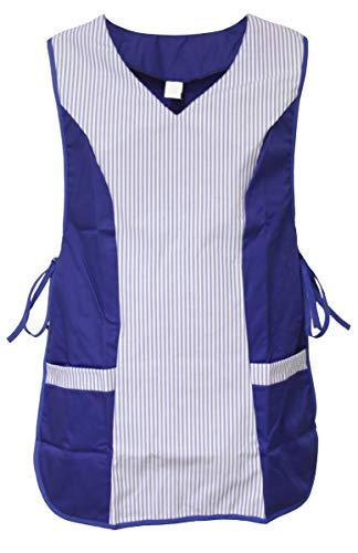 Chasuble Kasack Überwurf Schürze versch. Farben zum Knöpfen oder Binden, Größe:S, Farbe:dunkelblau/weiß z.Binden
