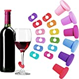 18 Pieces Wine Stopper Wine Charms Set, Include 6 Pieces Silicone Wine Bottle Stoppers Caps and 12...