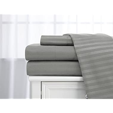 Deluxe 4 Piece 400 thread count 100% Cotton Sheet Set (Queen, Silver)