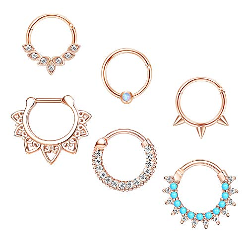 ORAZIO 6Pcs 16G Stainless Steel Nose Ring Hoop For Women Septum Hoop Nose Ring Cartilage Earring Daith Clicker Body Piercing Jewelry For Nose Ear