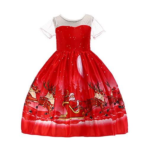 Amosfun Christmas Girls Dress Princess Printed Dress Christmas Kids Outfit Festive Party Short Sleeve Full Dress (Size 110cm, Red)