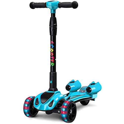Scooter per bambini, scooter a 3 ruote con ruota flash LED colorata, musica, vapore spray, batteria ricaricabile pieghevole e regolabile in altezza adatto per bambini di età compresa tra 3 e 12 anni