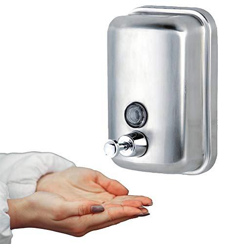 Dispensador de Jabon Manual en Acero INOX · Dosificador Jabon Baño de 1L · Dosificador Gel Hidroalcoholico para Manos · Dispensador Jabon Cocina y Baño Hoteles, Hospitales, Oficinas, Bares