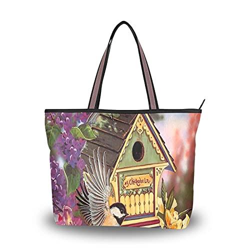 NaiiaN Handtaschen Geldbörse Einkaufen Umhängetaschen Leichter Riemen Vogelhaus Blumen Sommer für Mutter Frauen Mädchen Damen Student Einkaufstasche