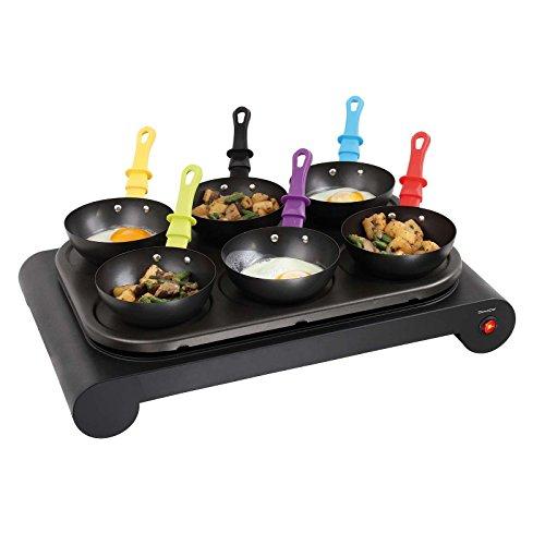 Wok - Barbecue elettrico Crepemaker per 6 persone, con rivestimento antiaderente (piastra per pancake, padelle, 1000 Watt)