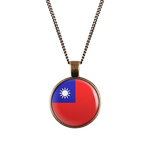 WeAreAwesome Taiwan Flagge Halskette - Länderkette mit Fahne Anhänger Unisex Kette