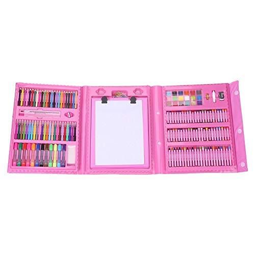 QINGRAN Art DIY Dessin Pastel À L'huile Crayon Couleur Enfants Crayon Marqueur Stylo Gomme Brosse Peinture Set Kit Rose croquis ensemble crayons à dessin, 1 set