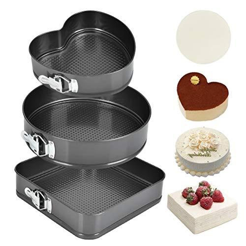 Springform Cake Pans, 3 Pcs Nonstick Cake Pan Set, 9.05''/ 10.23''/ 10.62'' Bakeware Cheesecake Pans Removable Bottom with 40 PCS Parchment Paper Liners