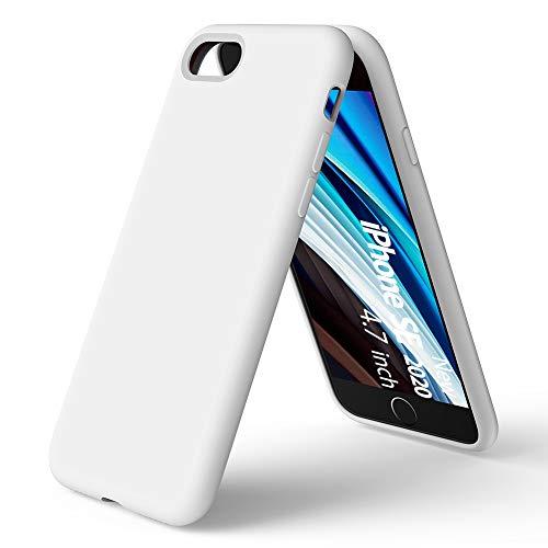 ORNARTO Custodia in Silicone Liquido per iPhone SE(2020), iPhone 7/8 Protezione Completa Cover Sottile in Silicone Liquido in Gomma Gel Morbida per iPhone 7/8/ SE(2020) 4,7 Pollici-Bianca