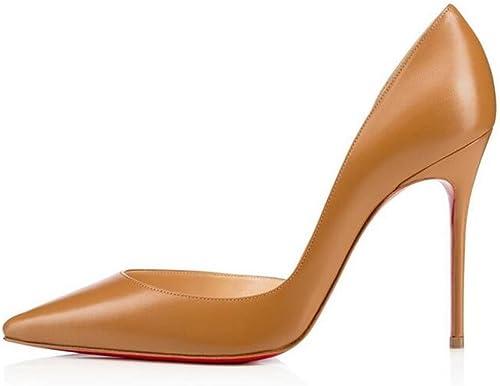 Xie Femmes Fines Chaussures à Talons Hauts Pointues Unique Chaussures en Peau de Mouton Marron