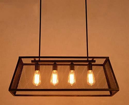 Z-LIANG Lámpara colgante de estilo industrial lámparas pendientes de la lámpara pendiente Fixture rectangular Hierro retro sala de estar de la lámpara pendiente de la luz Comedor Dormitorio del acceso