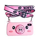 【CaserBay】 iPhone Phone Case 3D Cute Cartoon Kawaii Animal Series Soft Silicone Rubber Case Cover【Piggy Camera, Compatible with 6.5' iPhone Xs Max】